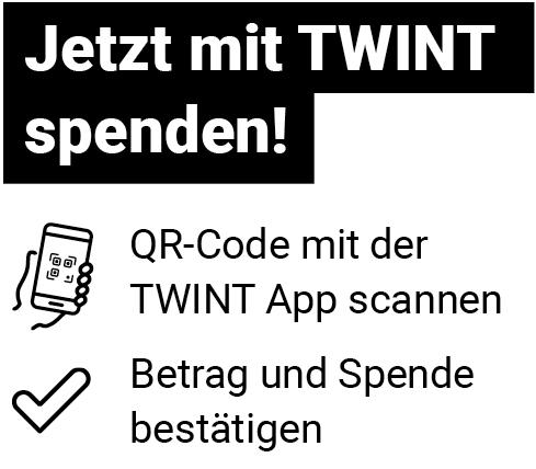 Anleitung, wie mit TWINT gespendet werden kann