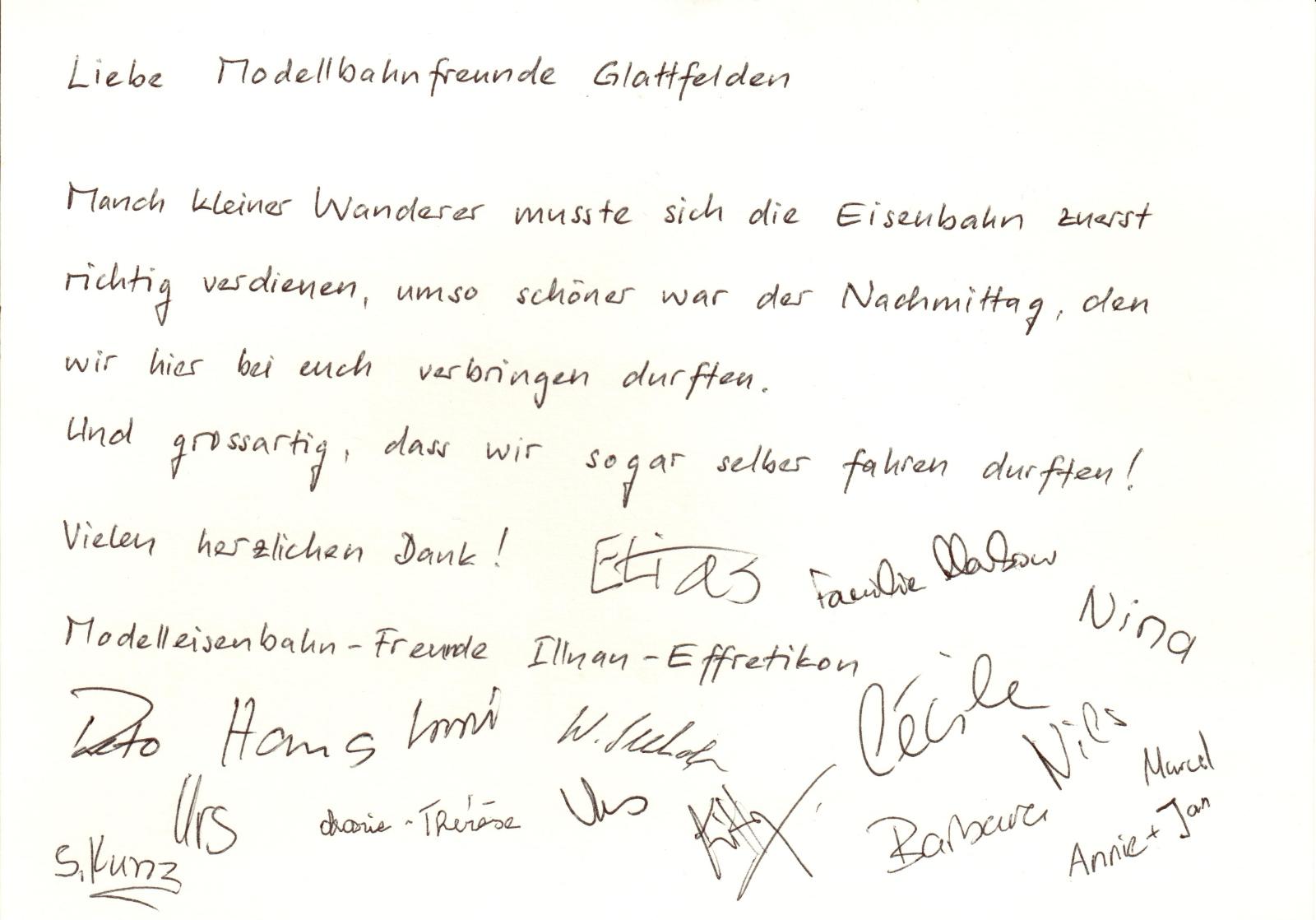 Dankkarte der Modelleisenbahn-Freunde Illnau-Effretikon
