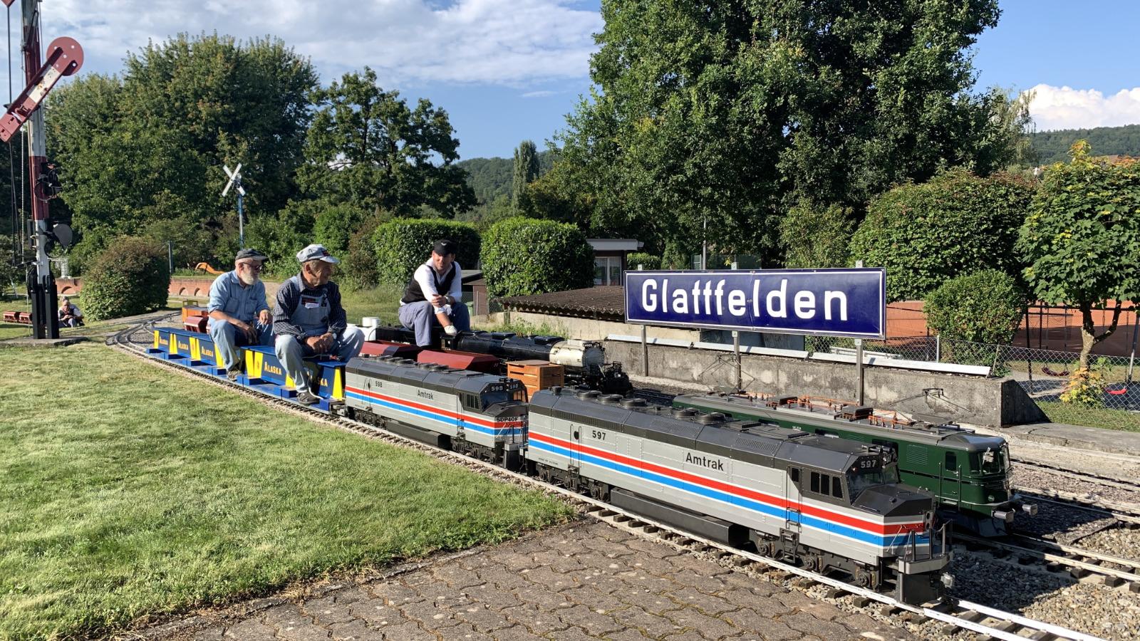 Züge warten im Bahnhof Glattfelden